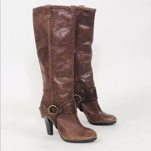 Frye Vicki Tall Brown Leather Harness Heeled Boots